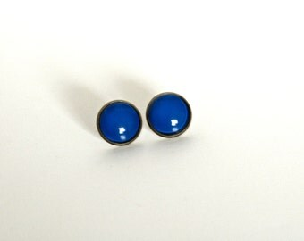 18mm Dark Blue Post Earrings, Dark Blue Stud Earrings for Men and Women Shiny Blue Earrings Dark Blue Earrings Shiny Blue Studs Unisex Studs
