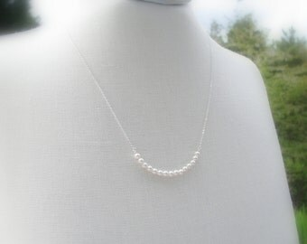 Sterling Silver Pearl Necklace, Tiny Pearl Necklace, Delicate Pearl, Bridesmaid Necklace Set, Gifts for Bridesmaid, Pearl Bridal White Pearl