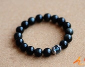 natural Shimmery  black    Prayer jade Beads charm beaded rosary bracelet,elastic Bracelet