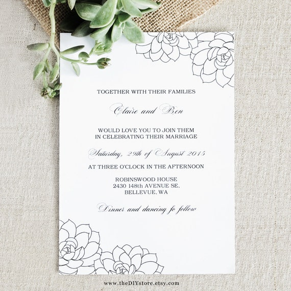 Succulent Wedding Invitation DIY Digital Printable - 100% Text Editable Template for Home Printing