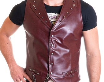 Heavy Biker Vest male eco leather red metal cross and chains - Handmade in Italy Limited Edition