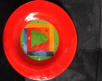 Christmas Plate, Cookie Plate, Holiday Plate, Vintage Plate, Hand Made Glass Plate, Christmas Tree Plate, Colorful Plate, Vintage Glass,
