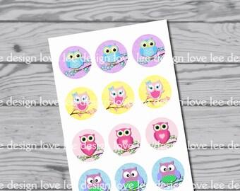 Owl bottle cap / stickers / clip art / instant download / owls