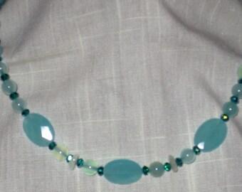 Turquoise Colored Semiprecious Artisan Springtime Necklace