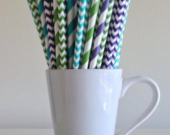 Teal, Purple, Green Striped and Chevron Paper Straws Monsters Party Supplies Decor Bar Cart Cake Pop Sticks Mason Jar Straws Graduation