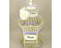Wedding Birdcage Card Holder Vintage Ivory & Lavender Light Purple, Pearl. Wedding Card Box. Wedding Money Box. Ivory Lavender Wedding Decor