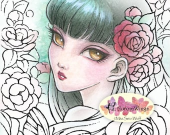 Digital Stamp - Camellia Spirit - Instant Download - Big Eye Fairy with Camellia - Fantasy Line Art for Cards & Crafts by Mitzi Sato-Wiuff
