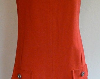 1960s Saks Fifth Ave Red Dress