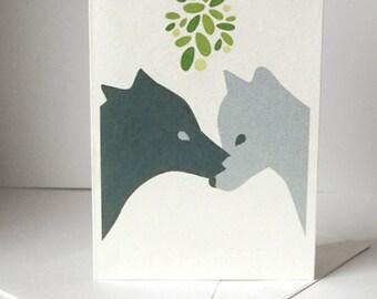 Christmas Card - Wolves under the mistletoe - Love Card