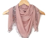 Sequin Scarf, Cotton Scarf, Lightweight Soft Powder Pink Scarf Beaded Crochet Lace, Handmade