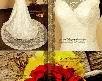 High Collar Design Lace Wedding Dress features Sweetheart Neckline and Keyhole Open Back with Scalloped Edges, Bohemian Wedding Dress