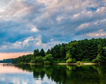 Reflection of beautiful clouds in Lake Marburg, Codorus State Park, Pennsylvania - Nature Photography Fine Art Print or Wrapped Canvas