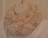 LYI60: Lace Yarn Infinity Scarf (White Sequin) FREE SHIPPING