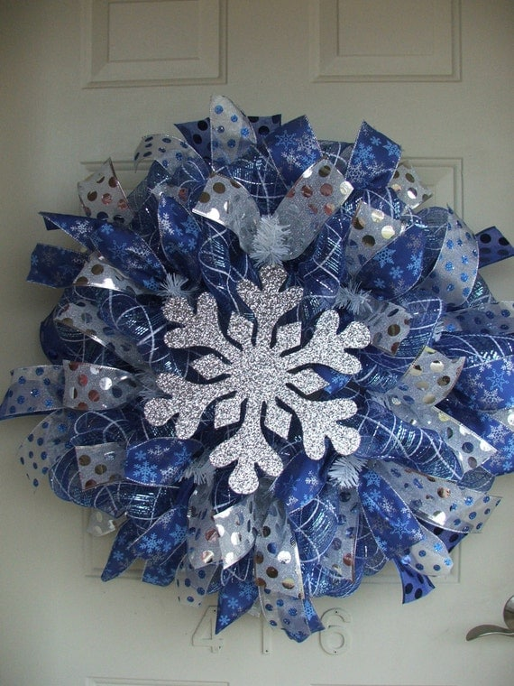 Winter Blue and Silver Snowflake Mesh Ribbon Wreath