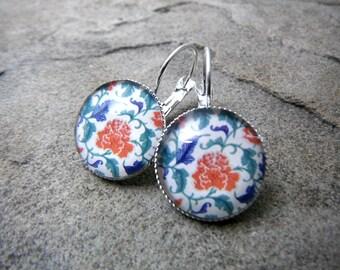 Red Flower Earrings, Paisley Earrings, Antique Earrings, Paisley Jewelry, Flower Jewelry, Silver Leverback Earrings