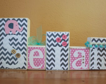 Pink Elephant Baby Shower Decor- Pink Gray Nursery- Grey Pink Baby Shower Blocks- Teal Shower- Pink Grey Elephant Shower- Gray Teal Nursery