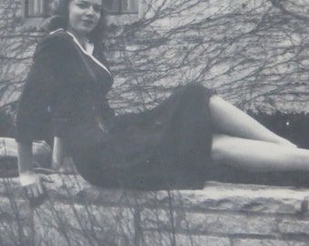 Sexy Coed Shows Her Legs 1950's Snapshot Photo - Free Shipping