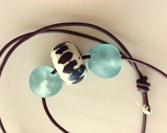 Mans or Womans Sea Glass and Bone Adjustable Necklace on Soft Dark Brown Leather Cord - Unisex