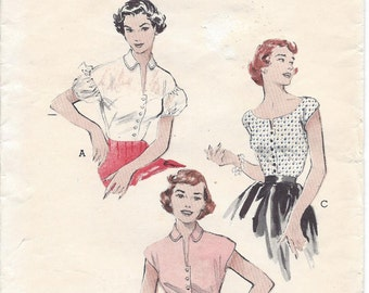 1950s Butterick 6369 Blouse Sewing Pattern 3 Styles Size 14, Bust 32