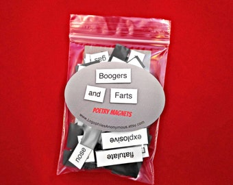 Boogers and Farts Poetry Magnet Set - Refrigerator Poetry Word Magnets