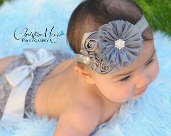 Baby headbands, gray silver flower headband, girls headbands, newborn girl headbands, infant headbands, flower headband