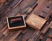 Set of 7 Personalized Wood Multi-tool Pocket Box Knife Bottle Opener Engraved and Monogrammed Groomsmen, Usher, Best Man Swiss Army (024915)
