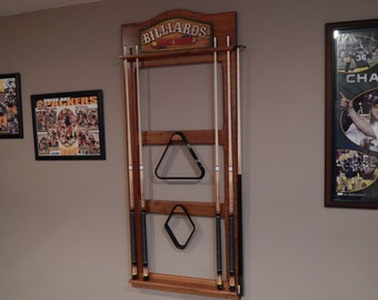 Solid Cherry, Walnut, or Maple Wood POOL CUE RACK - Unique Billiard Room Sign + Holder for Cue Sticks + Accessories for your Pool Table