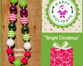 Pink Lime White; bright gumball chunky necklace; statement gumball necklace, chunky necklace; Bauble Yumz chunky bubblegum necklace