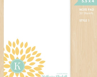 Personalized Note Pad // Yellow Blooming Blossom with Monogram Initial and Name // S100-2