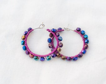 Wire-wrapped iridescent Hoop Earrings