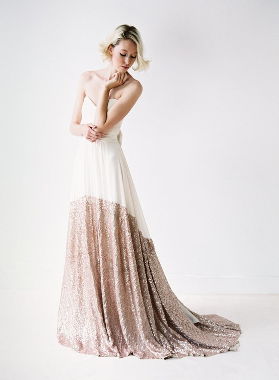 A Modern Chiffon and Rose Gold Sequinned Wedding Dress