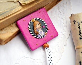 Girl Pocket Mirror Glyncess Princess Pink Gray Black White Stripes Cute Recycled Jeans Bag Mirror Birthday Gift Idea for Her