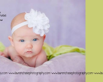 Adorable Baby Girl Eyelet Flower Headband