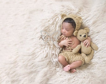 Handmade Crochet Teddy Bear & Newborn Bonnet Shorts Set / Photo Prop Teddy Toy Amigurumi Vintage Style / Perfect Baby Shower Gift / under 50