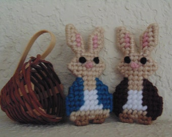 Peter Rabbit and Benjamin Bunny, Needlepoint figures, Set of Two, for Spring