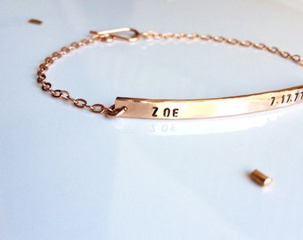 Nameplate Bracelet - Rose Gold Bracelet - Personalized Bar Bracelet - Custom Stamped Name Bracelet - Save the Date - Mothers Day Gift