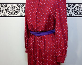 Ruby Red and Purple Paisley 1960's Secretary Dress by Leslie Fay Petites