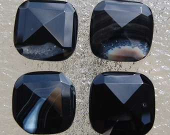 1 Black Faceted Agate Gemstone Bead 25mm x 25mm