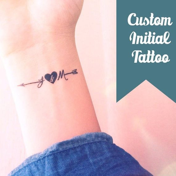 Set Of 2 Custom Initial Arrow Temporary Tattoo By InknArt