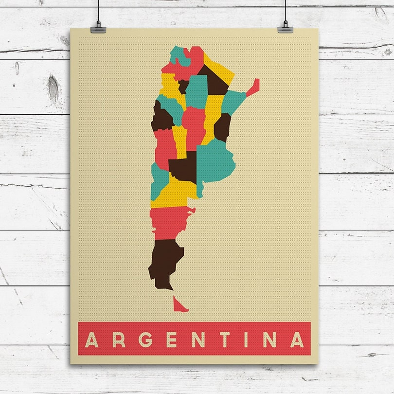 ARGENTINA Art Print Pop Art Map Country Maps For Home Decor - Argentina map to print
