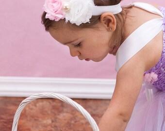 Pink and White Double Shabby Headband, Baby Headband, Shabby Chic Headband, Newborn Headband, Toddler Headband, Baby Girl Headband