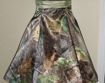 Camo Dress Strapless Sweetheart Full Skirt
