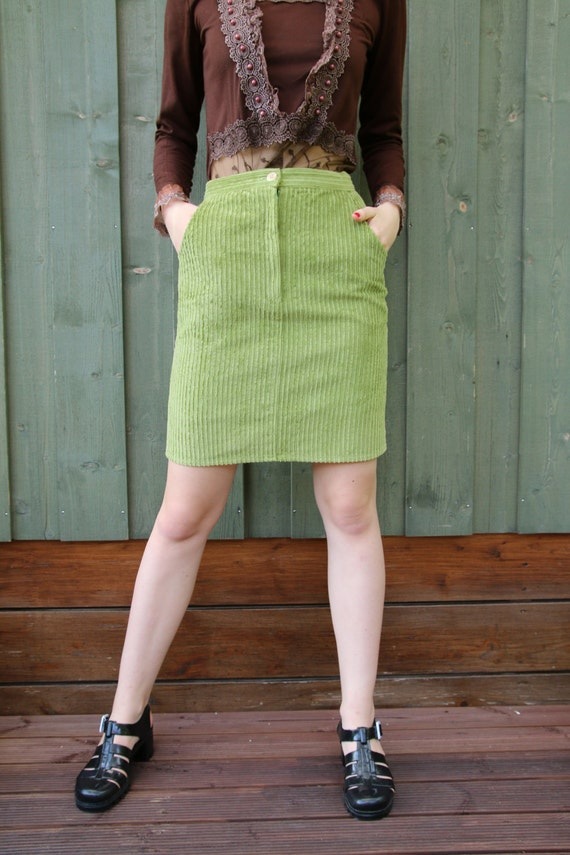 light green corduroy pencil skirt green skirt small
