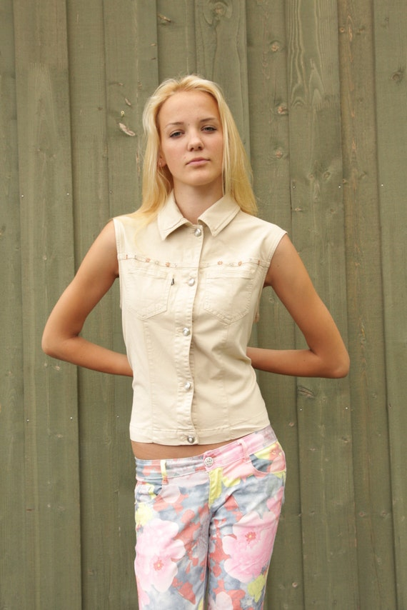 Womens Beige Jeans Vest Button Up Elegant Fitted Autumn Shirt