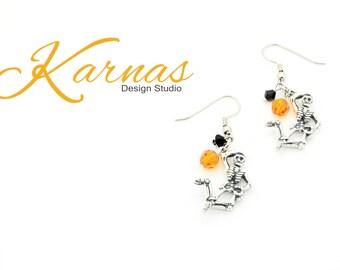 DEM BONES HALLOWEEN Swarovski Elements Beaded Earrings *Antiqued Silver *Karnas Design Studio *Free Shipping*
