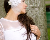 Blossom Bridal Headpiece with White Pearl Pendant