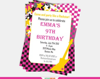Rock Star Birthday Invitation - Rock Star Party Invitation - Rock Star Invitation - Rockstar Party Printable Invitation (Instant Download)