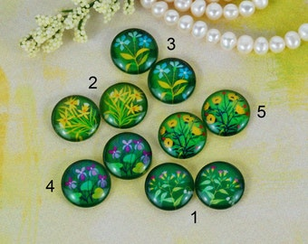 12mm,16mm,20mm Handmade photo glass cabochon cabs Mix plants flower 12B067