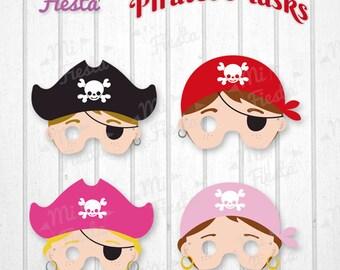 Pirates children Mask Printable for birthdays, Instant Digital Download, girls and boys, Yo Ho