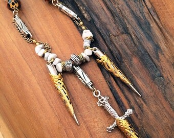 Handmade SWORD Necklace, Tribal, Medieval, Boho, Festival, Spike, Sexy, Celebrity, Native, Unique, Horn, Warrior (The Journey Necklace)